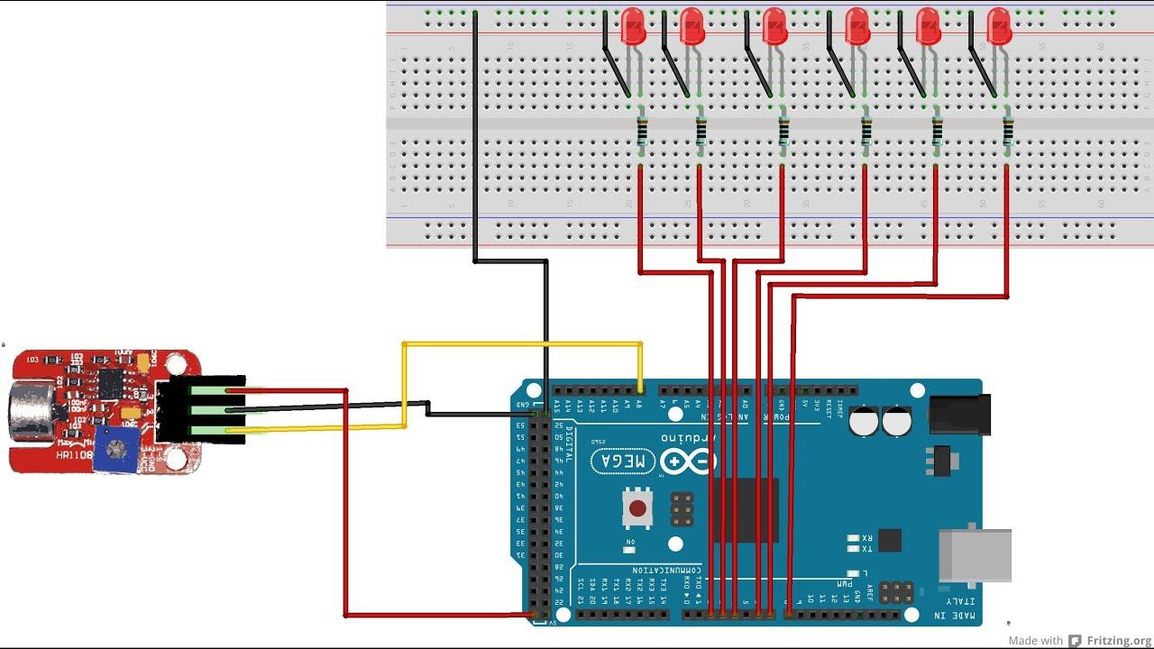 Arduino Led Lighting Code Arduinoledlightchaser10ledcodecircuit Sound Level You