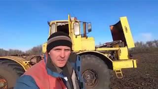 Трактор Кировец. Цепляю Алькор-10. Начинаем сеять ячмень.