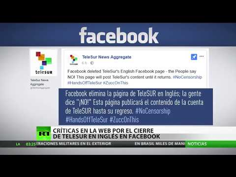 """""""Esta página no está disponible"""": Facebook elimina la web de TeleSUR English"""