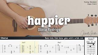 happier - Olivia Rodrigo | Fingerstyle Guitar | TAB + Chords + Lyrics