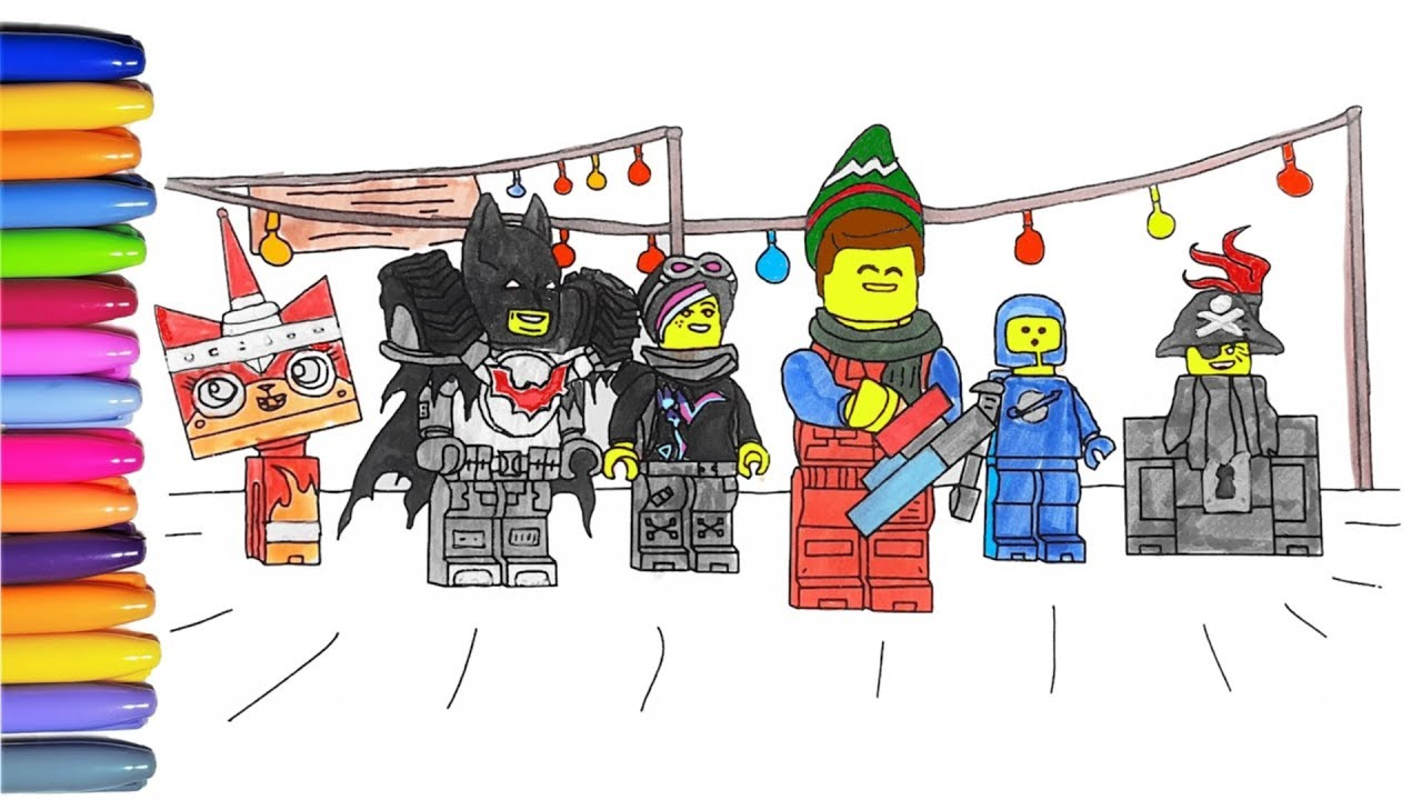 Lego Movie 2 Coloring Page With Emmet Batman Nya Spaceman And More Everything Is Awesome Youtube