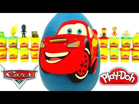 Huevo Sorpresa Gigante de Rayo McQueen de la Película de Disney Cars en Español de Plastilina