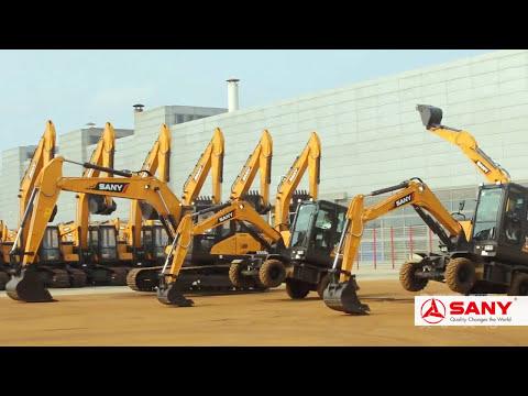 Sany Wheel Excavator  in Action