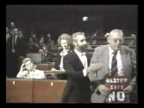 Paisley confronts Thatcher at European Parliament - Dec 1986