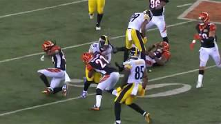 JuJu Smith Schuster Vicious HIT on Vontaze Burfict  Steelers vs  Bengals  NFL