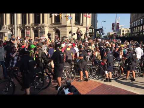 Cleveland police use bicycles for crowd control at the RNC