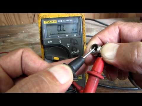 Using a multimeter to check a coax cable.