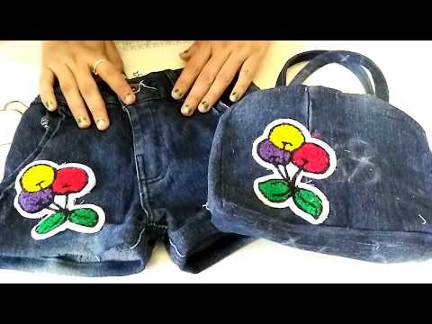 waste jeans to best side bag and short make at home Diy