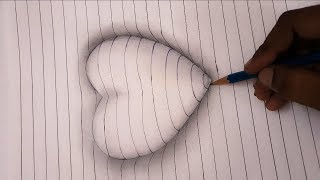 How to Draw 3D Embossed Heart on Paper Easy  - Art for Kids and beginers