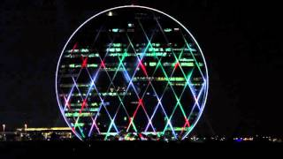 Lightshow on Abu Dhabi Skyscraper – Aldar HQ