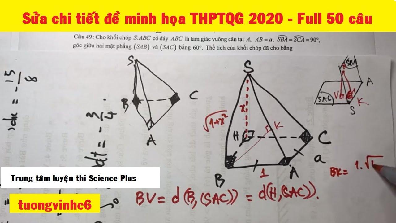 Sửa chi tiết đề minh họa BGD THPTQG 2020 Toán siêu nhanh – Full 50 câu