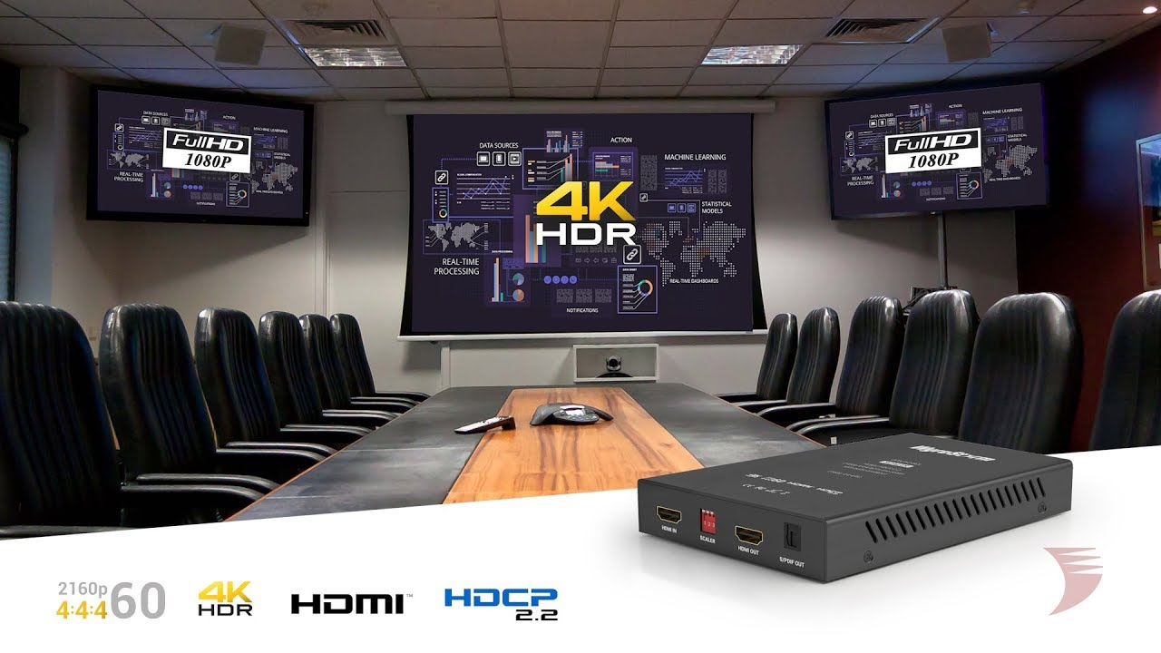 4K 4:4:4 60Hz In-Line HDMI Scaler with Audio Breakout - CON-H2-SCL