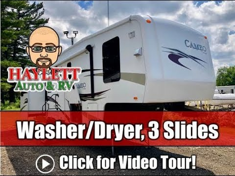 2011 Cameo 34s Triple Slide Carriage Fifth Wheel With Washer Dryer Combo