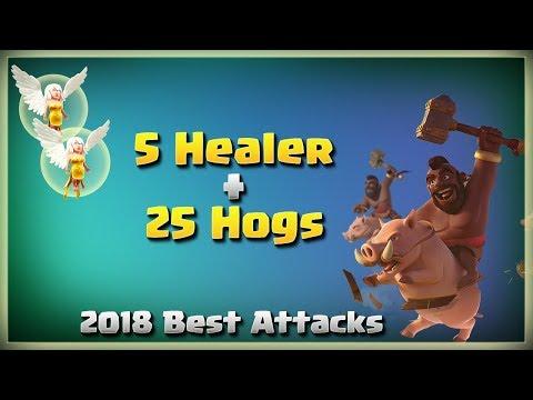 5 Healer + 25 Hogs Smashing Max TH11 | TH11 War Strategy #187 | COC 2018 |