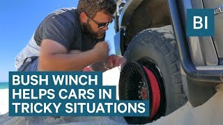 Bush Winch Attaches To Car Wheels To Pull Them Out Of Bad Situations