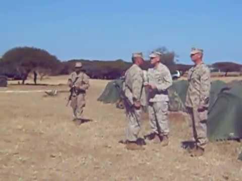 Marine General John Kelly promotes Maj Ryan O'Conner in Mozambique