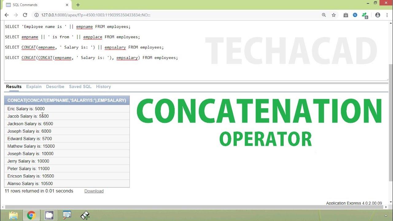 Oracle Tutorial - Concatenation Operator | CONCAT Function