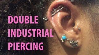 Double industrial piercing. Getting my second scaffold piercing using EMLA  numbing cream.