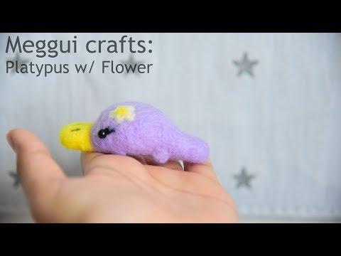 Platypus W/ Flower - Meggui Crafts (Needle Felting)