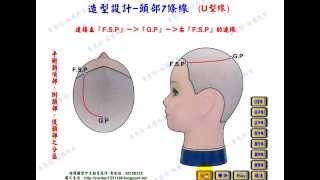 黃思恒編製數位美髮影片-頭部7條基準線-U型線
