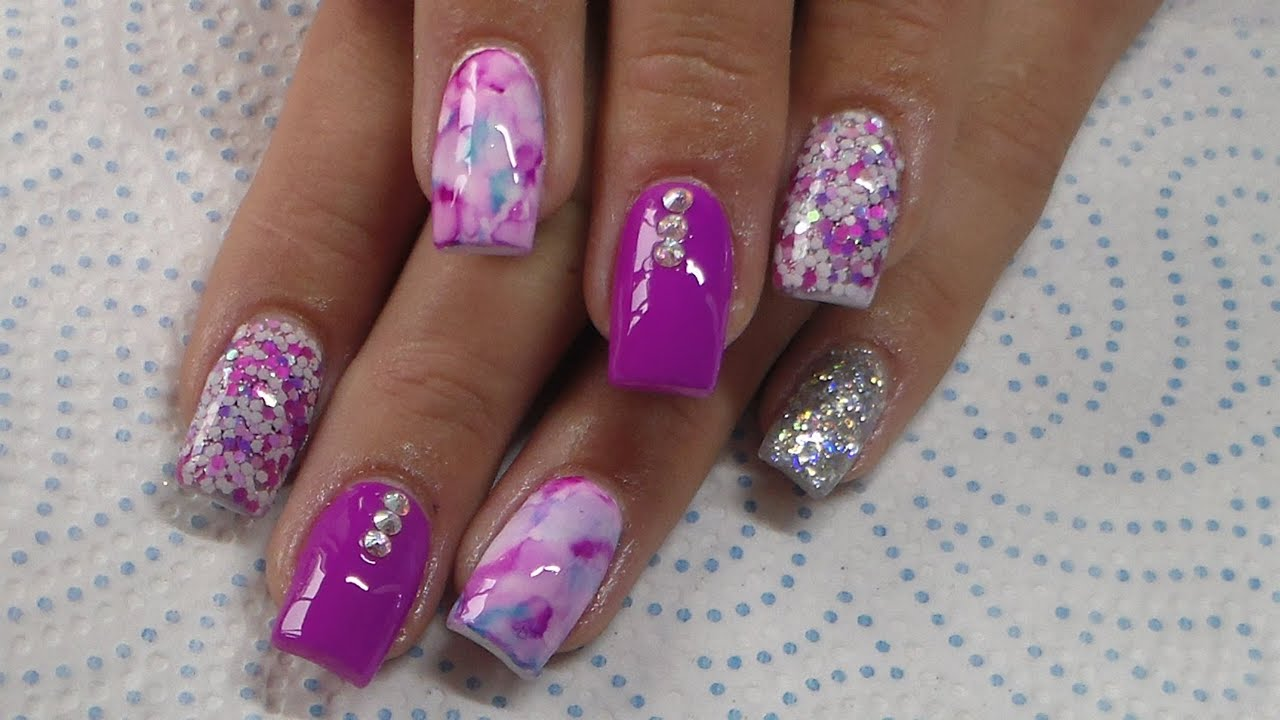 Acrylic Nails Infill And New Design Purple Pink Youtube