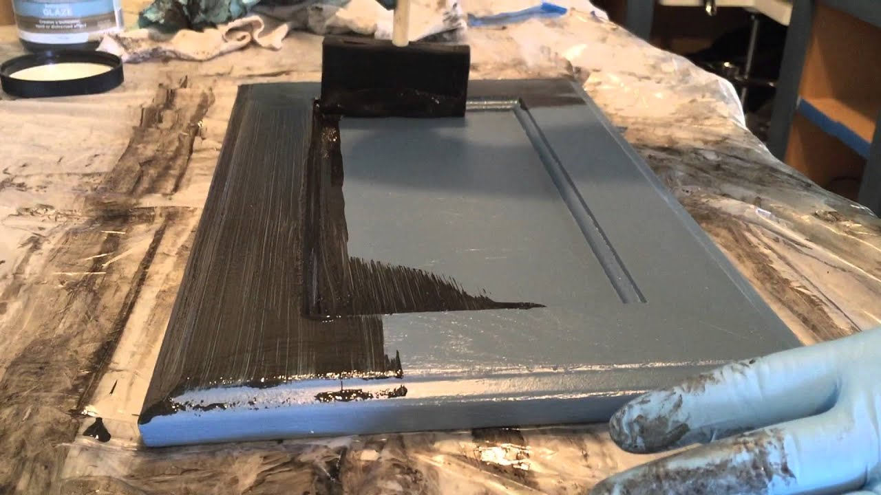 Kitchen Cabinets With Blue Paint And Black Glaze YouTube - Gray glazed cabinets