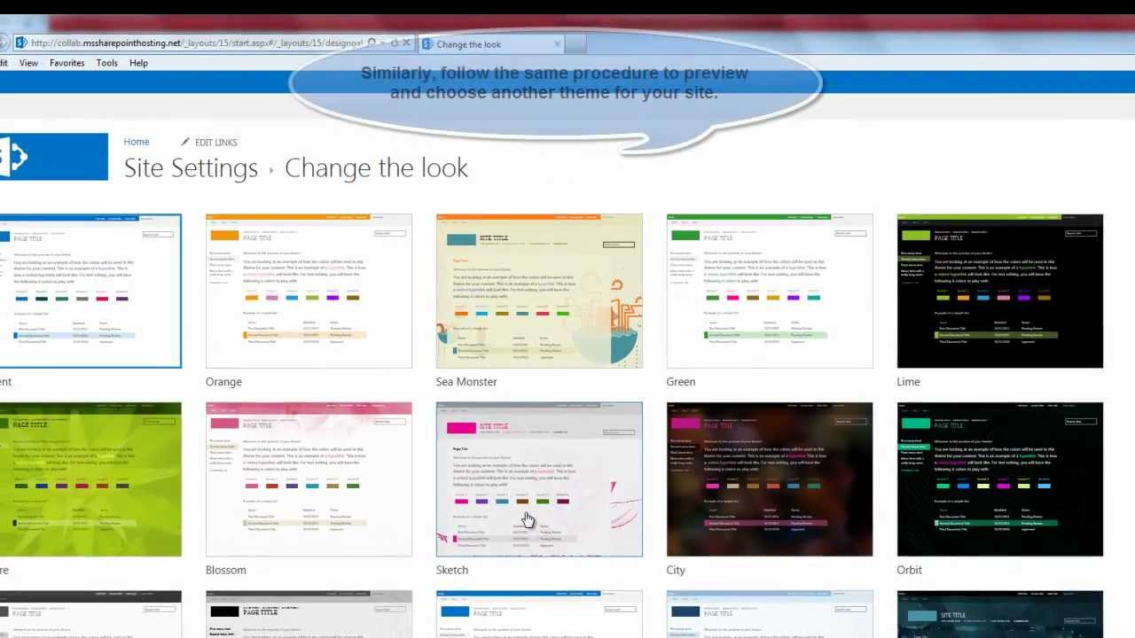 Sharepoint 2013 tutorial how to change the site theme in for Sharepoint 2013 site templates free
