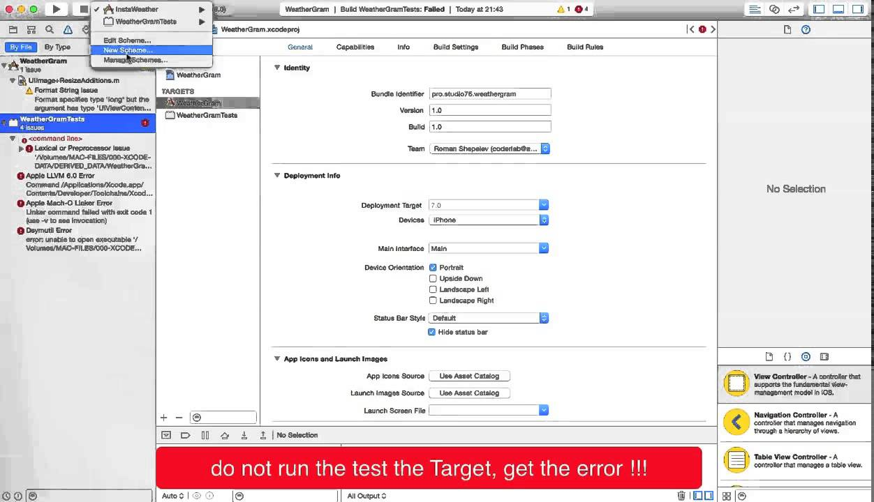 How to change application run target (xcode)