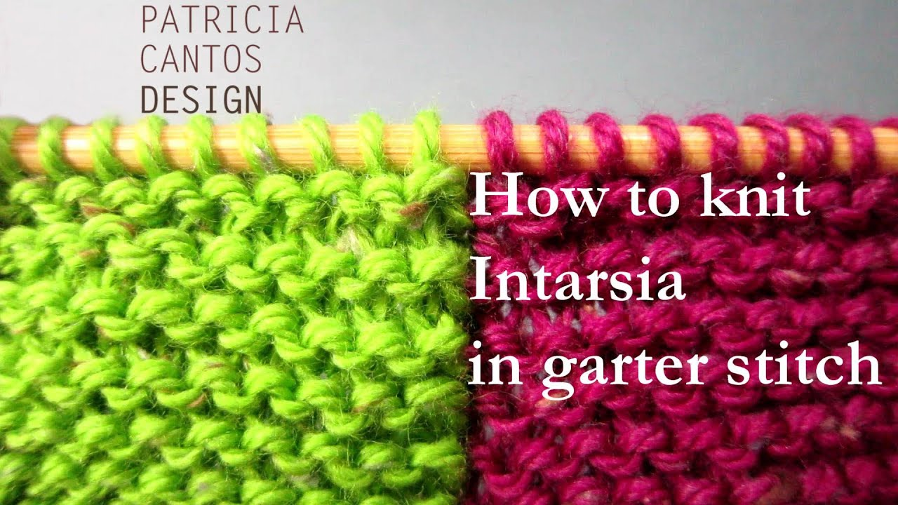 Knitting Adding Stitches In The Middle Of A Row : How to knit intarsia garter stitch - change color middle of row - YouTube