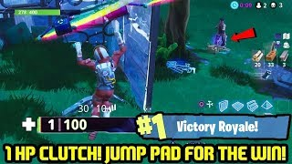 1 HP Save! Jump Pad for the INTENSE Solo Win! FORTNITE BATTLE ROYALE!