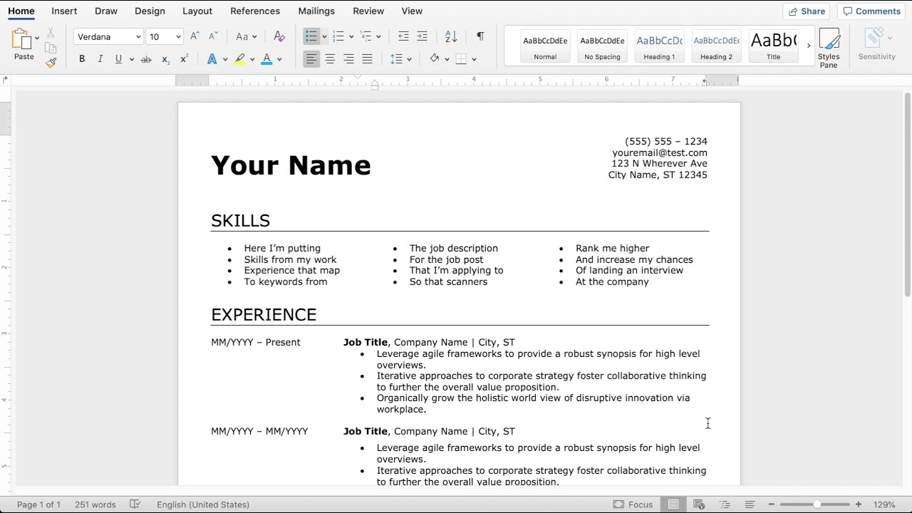 How to Make an Easy Resume in Microsoft Word (21) Inside How To Find A Resume Template On Word