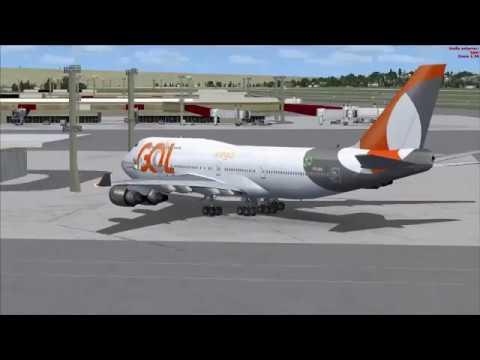 Decolagem Boeing 747-400 da GOL- Aeroporto Internacional de Guarulhos - São Paulo - Brasil