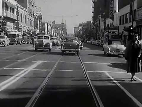 Los Angeles streets: Hollywood Blvd & Highland Ave traffic. Early 1950s VINTAGE LOS ANGELES