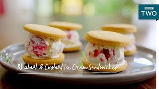 Rhubarb & Custard Ice Cream Sandwiches | Nadiya