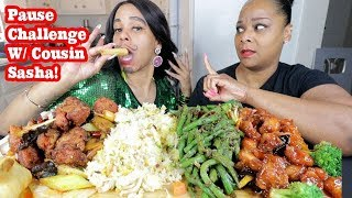 CHINESE FOOD (PAUSE CHALLENGE) MUKBANG WITH MY LEAST FAVORITE COUSIN!
