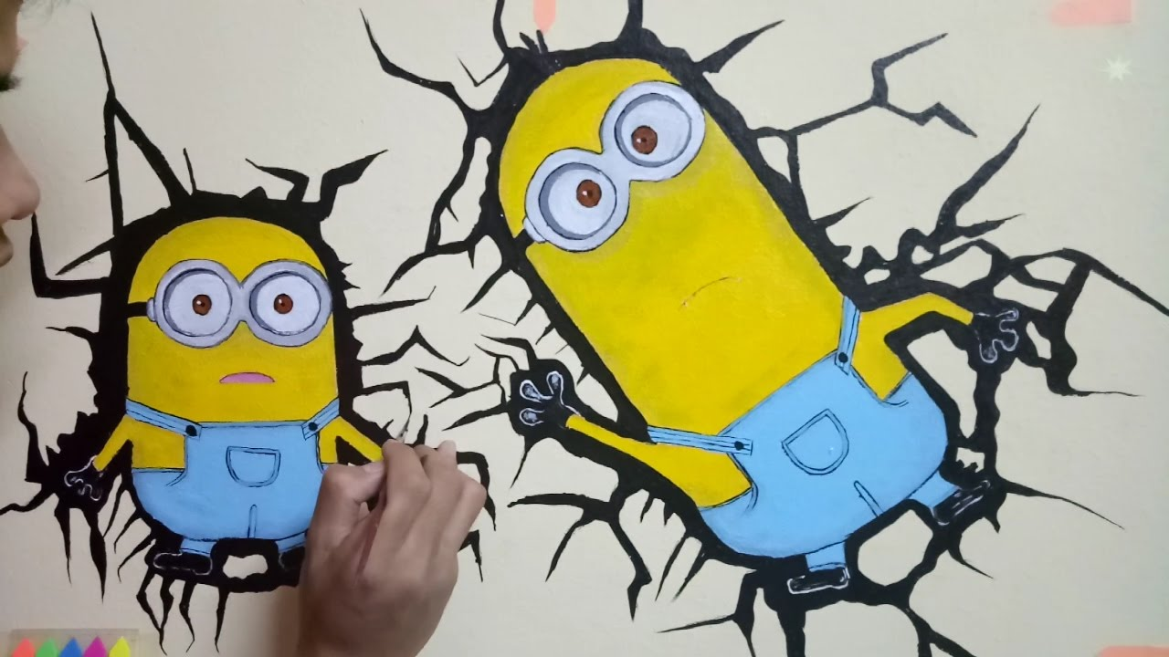 Minions-Bob & Kevin (Hand Drawing) WALL PAINTing 3D cracking ...
