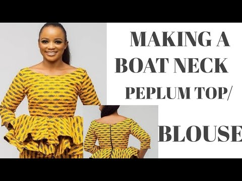DIY BOAT NECK PEPLUM TOP. Easy Cutting And Stitching Peplum Top With Circle Flare Bottom