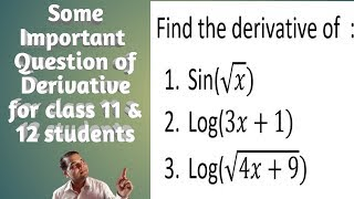 Very Important Question Of Derivative for NEB Board|Useful 4 class 11& 12( basic math)