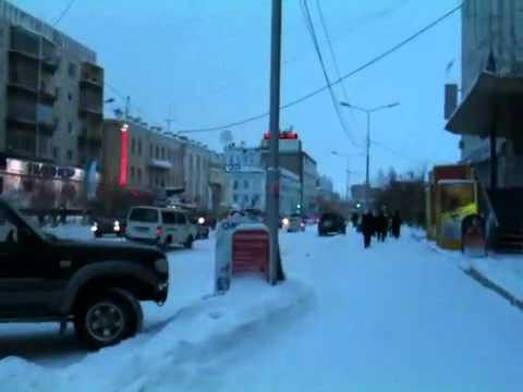 Walking down the street. Yakutsk/Siberia