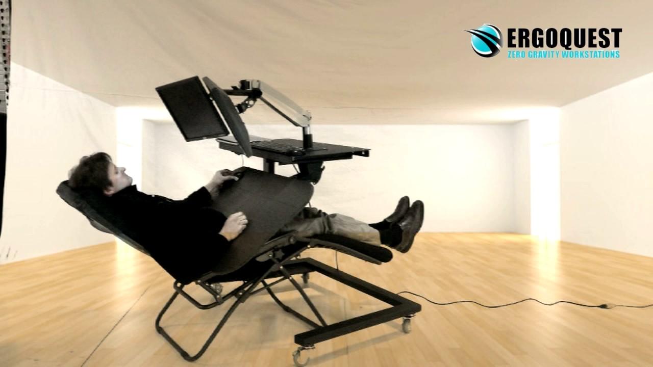 Padded Zero Gravity Chair Ruffled Pads Reclining Computer Desk With Lafuma Style - Youtube