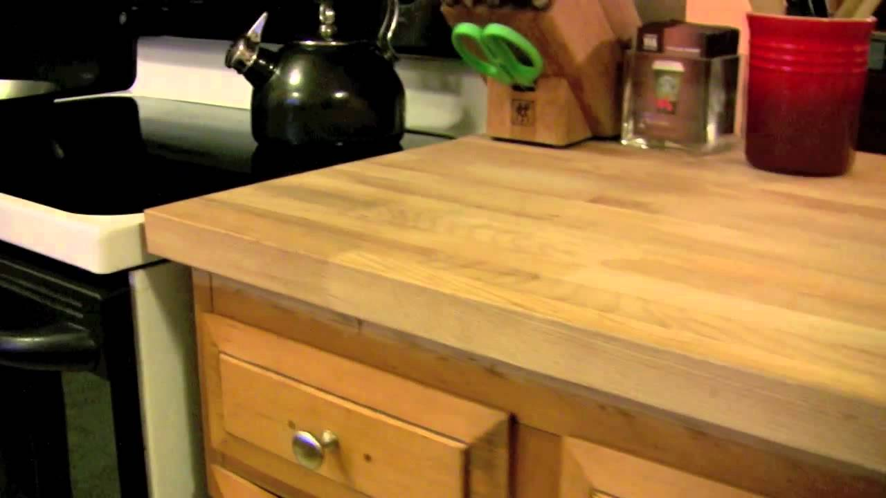 Ikea DIY Kitchen Countertop Numerar   Cheap Butcher Block Hardwood And  Great Value   YouTube