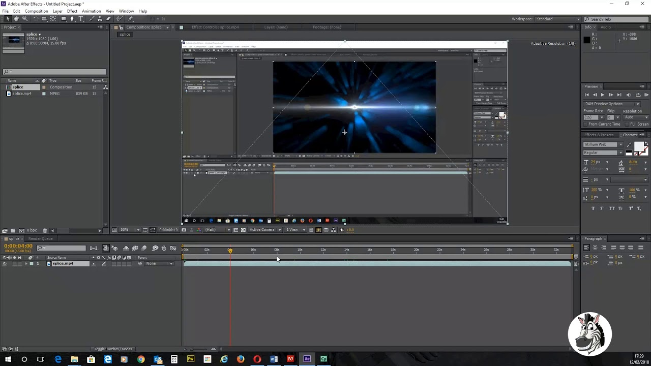 Adobe After Effects - how to splice / edit the length of your video