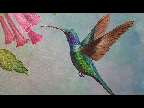 Hummingbird Acrylic Painting Tutorial LIVE - YouTube