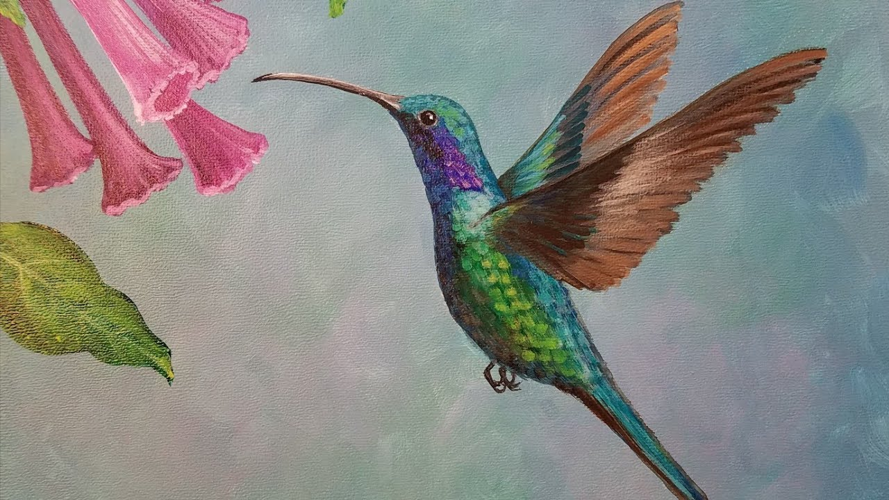 Hummingbird Acrylic Painting Tutorial Live