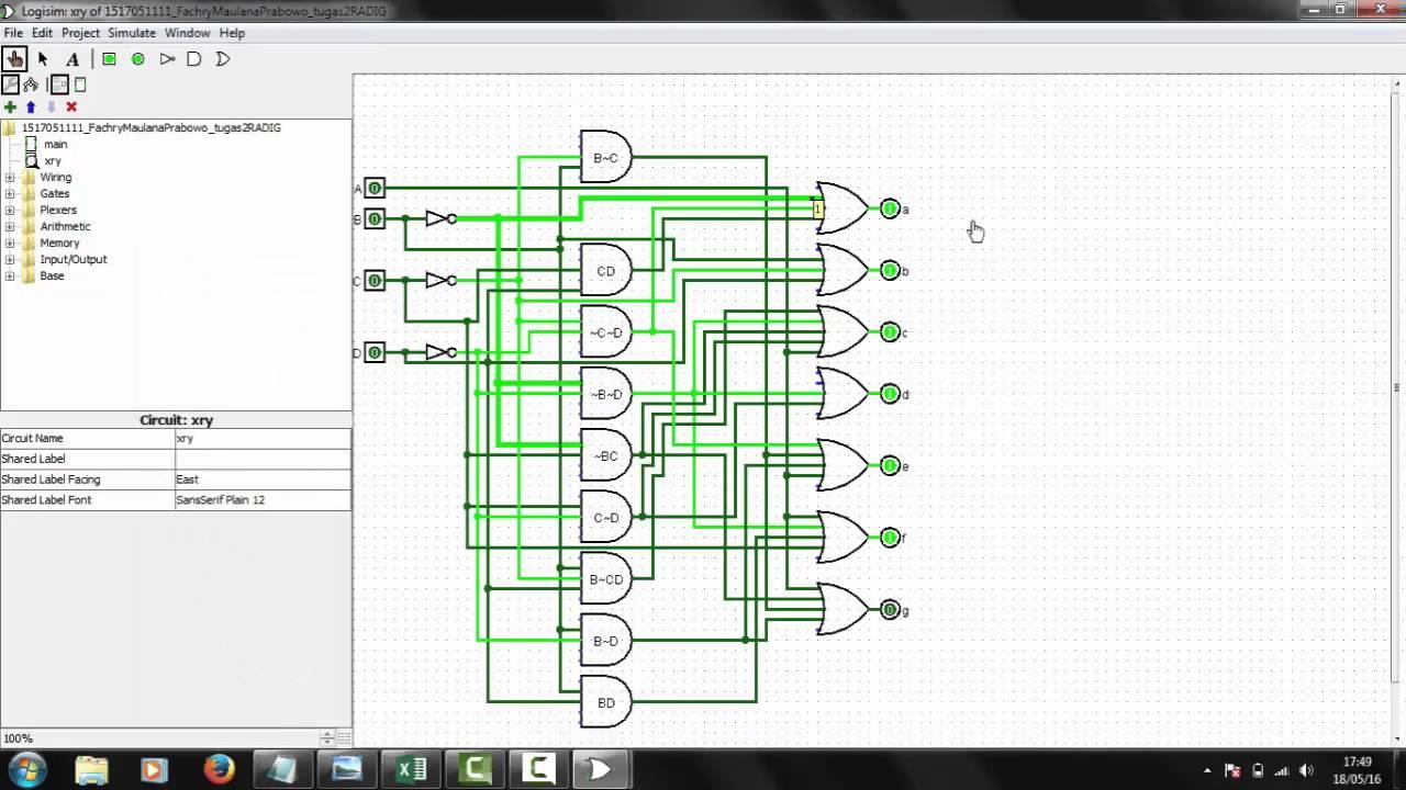 Diagram Flop Jk Flip Electrical Wiring Logic Of Tutorial Membuat 7 Segment 4 Bit Dengan Logisim Manual Waktu