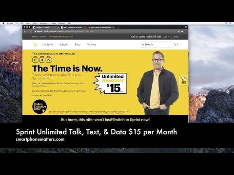 Sprint Unlimited Talk, Text, & Data $15 per Month