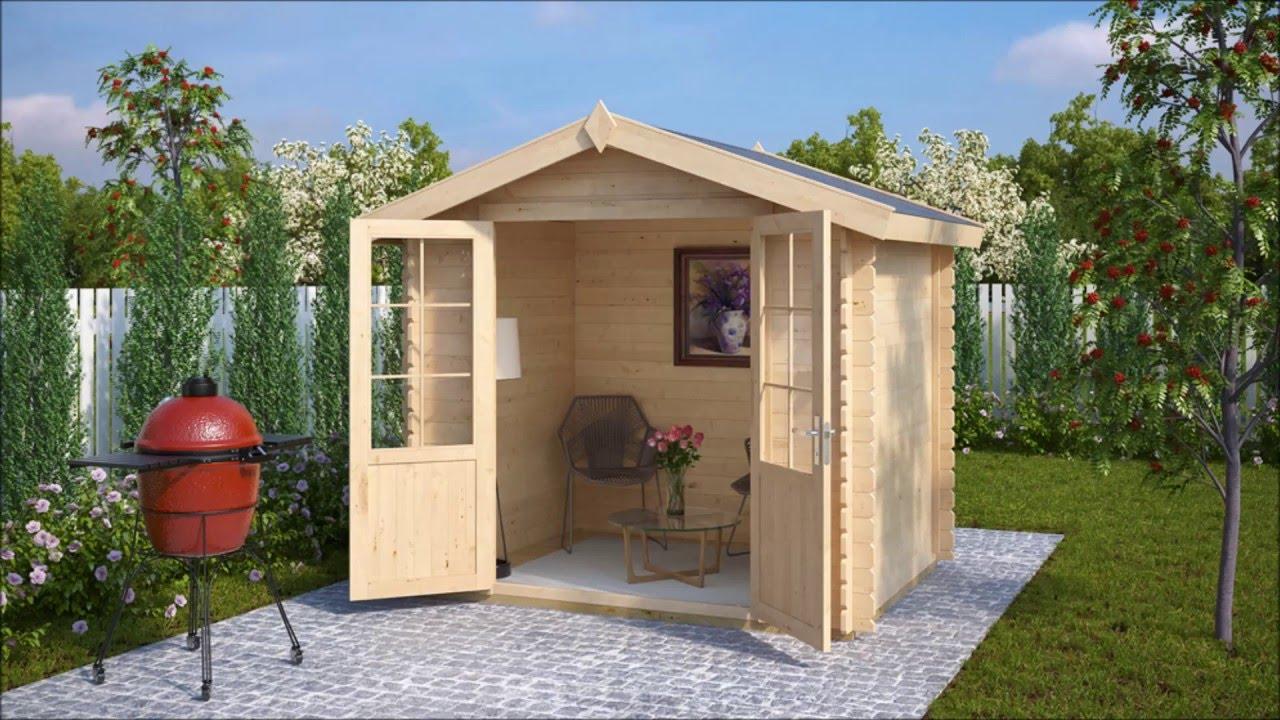 kleines holz-gartenhaus anita s 4m² / 28mm / 2×2 - youtube