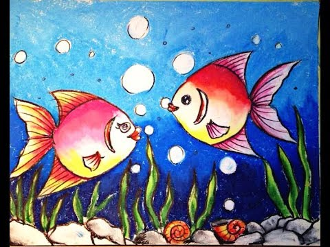 How to draw underwater scenery step by step oil pastel for Fish scenery drawing