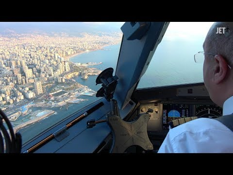 Airbus A320 Cockpit Landing in Lebanon Beirut with Middle East Airlines HD
