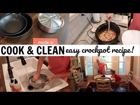 COOK WITH ME AND CLEAN WITH ME // EASY CROCKPOT RECIPE // CLEANING MOTIVATION